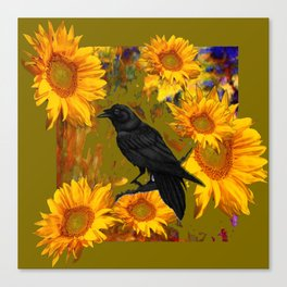CROW & SUNFLOWERS KHAKI ART Canvas Print