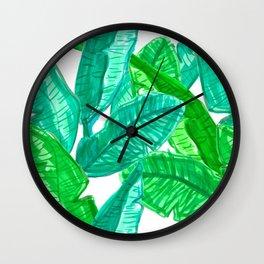 Tropical Banana Leaf Sketches in White Wall Clock
