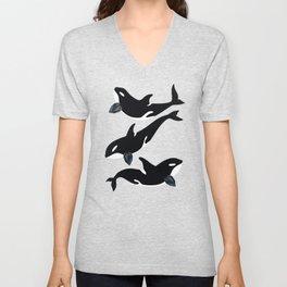 Orca Whale - Dark Blue Spinel Unisex V-Neck