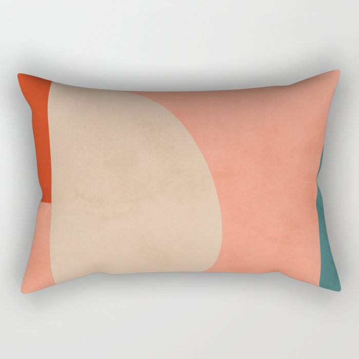 geometry shape mid century organic blush curry teal Rectangular Pillow