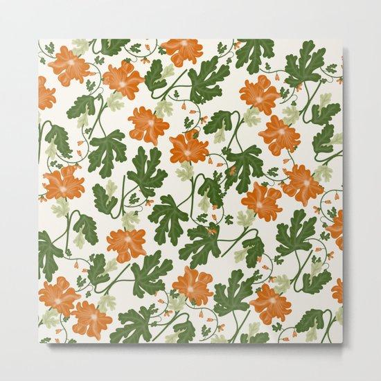 Orange Vintage Flower Pattern Metal Print