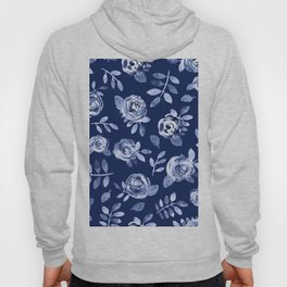 Hand painted navy blue white watercolor floral roses pattern Hoody