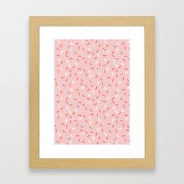 Pink Sprinkle Confetti Pattern Framed Art Print