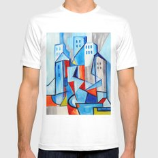 Blue City White MEDIUM Mens Fitted Tee
