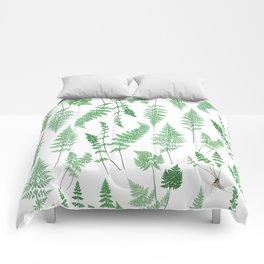 Ferns on White I - Botanical Print Comforters