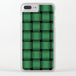 Large Dark Green Weave Clear iPhone Case