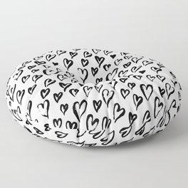 Hearts. Brush-lettered seamless pattern Floor Pillow