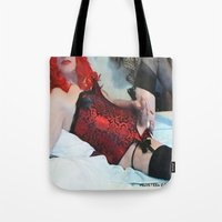 penis Tote Bags featuring funny painting Transgender trannie BDSM fetish panty corset sex fuck penis cock dick woman man cute by Velveteen Rodent