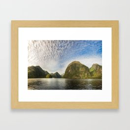 Sunglow over interesting Mountain Range at Doubtful Sound Framed Art Print
