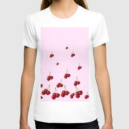 DECORATVE FALLING RED CHERRIES FROM SOCIETY6 T-shirt
