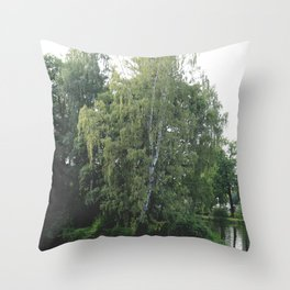 Large white birch on the shore of a reservoir with a dangling leaf crone Throw Pillow