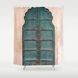 Antique door in India - Teal door, peach wall Shower Curtain