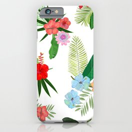 Tropical Flower and Leaves Pattern iPhone Case
