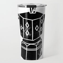 Moka Pot coffee linocut black and white minimal foodie kitchen coffee lover art Travel Mug