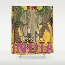 india elephant vintage travel poster Shower Curtain