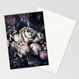 Roses peonies vintage style old masters flowers blooms Stationery Cards