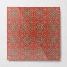 OrangeGreen Tile Metal Print