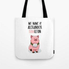 Alexander Hamilton Pig Piggy Ham BBQ Musical Tote Bag