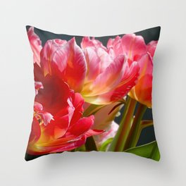 Pink and Red Parrot Tulips close up II Throw Pillow