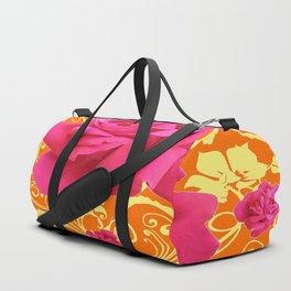 PINK ORANGE  ROSE SCROLLS GARDEN ART PATTERN Duffle Bag