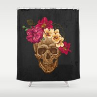 animal skull Shower Curtains featuring Skull by eARTh