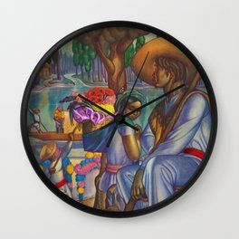 Calla Lily & Sunflower Flower Seller on Aztec Canel of Xochimilco, Mexico portrait painting Wall Clock