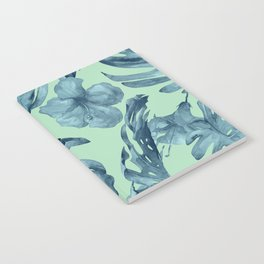 Tropical Leaves and Flowers Luxe Ocean Teal Blue Pastel Green Notebook
