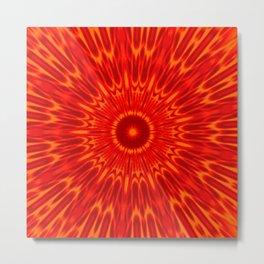 Red Sun Mandala Metal Print