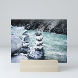 Rocks Stacked by the Creek Mini Art Print