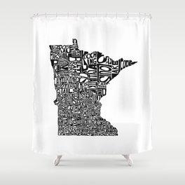 Typographic Minnesota Shower Curtain