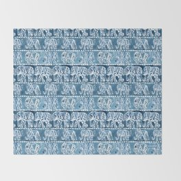 ELEPHANT SAFARI Tribal Indigo Ikat Pattern Throw Blanket