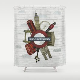 Around London digital illustration Shower Curtain