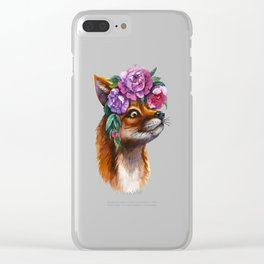 Red Fox and Peonies Clear iPhone Case