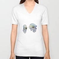 iris V-neck T-shirts featuring Iris by Neon Kat