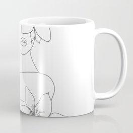 Minimal Line Art Woman with Flowers VI Coffee Mug