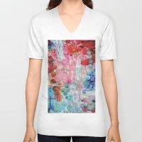 rain V-neck T-shirts featuring Rain by John Turck