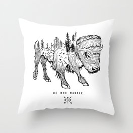 Buffalo | We Who Wander Threads Throw Pillow