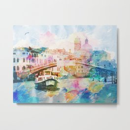 Watercolor cityscape painting - Venice, Italy Metal Print