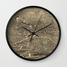 Vintage Pictorial Map of Rochester NY (1880) Wall Clock