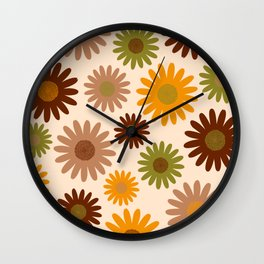 Retro 70s jumbo flowers autumn brown orange daisies Wall Clock