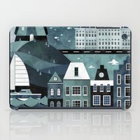 travel poster iPad Cases featuring Amsterdam Travel Poster by ClaireIllustrations