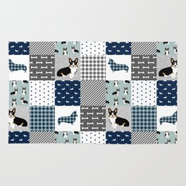 Tricolored Corgi Patchwork - classic buffalo plaid, plaid, dog dad, dog lover, dog design, cute dogs Rug