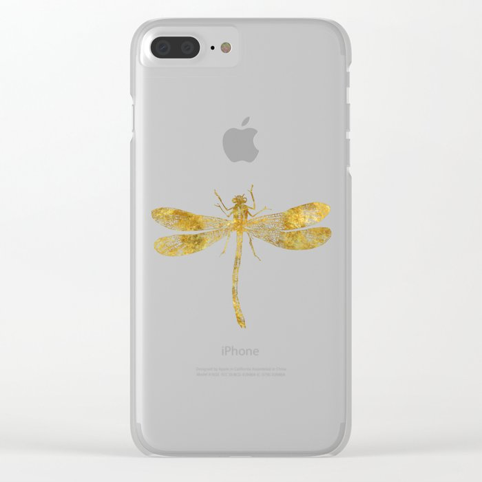 Golden Dragonfly Clear iPhone Case