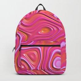Orange Hot Pink Liquid Plastic Swirl Pattern Backpack