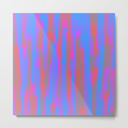 Geometric Blue Pink Orange Painting Metal Print