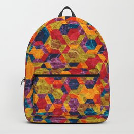 Colorful Half Hexagons Pattern Backpack