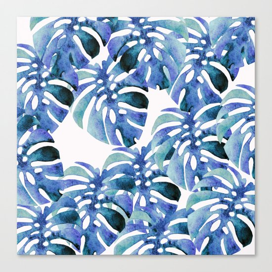 Monstera Pattern Blue Canvas Print