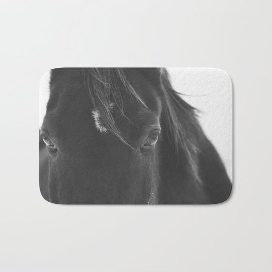 Close Up Black Horse Photograph Bath Mat