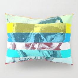 Striped Glitch Skull Pillow Sham