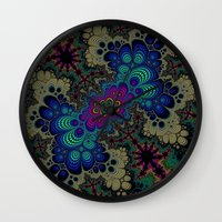 novelty Wall Clocks featuring Peacock Fractal by Moody Muse